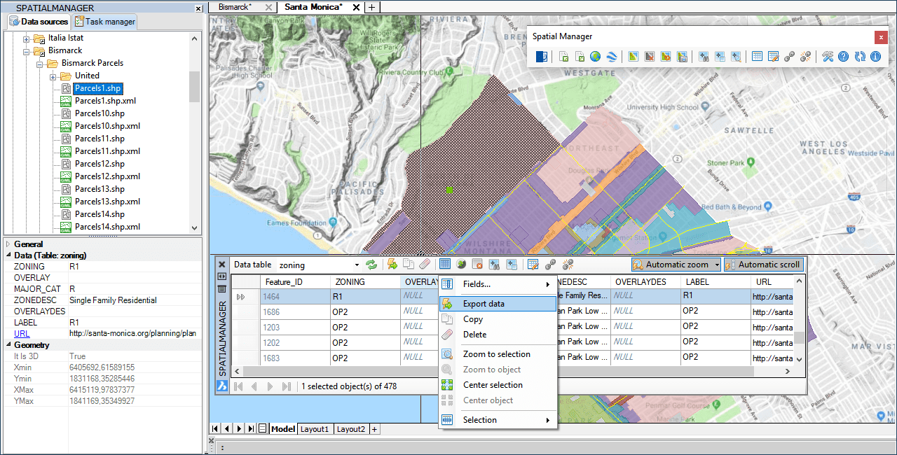 'Spatial Manager' Data Grid palette