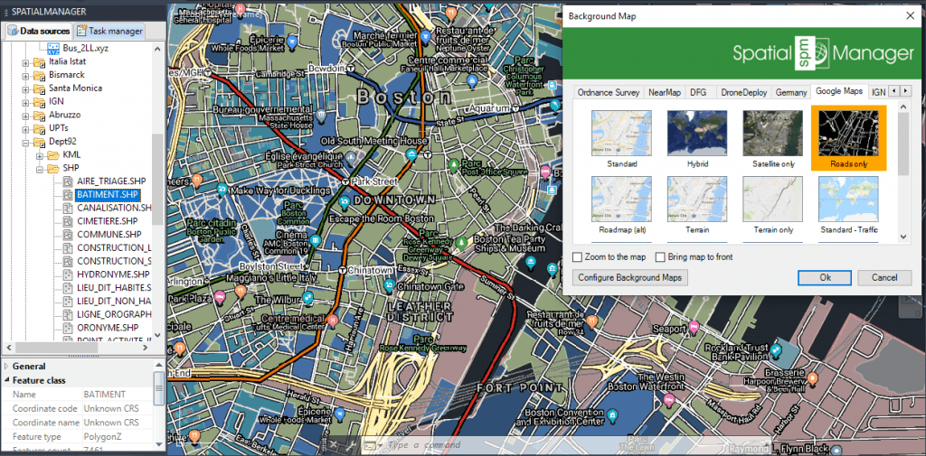 Google Maps Roads only + Transit (Public transport)