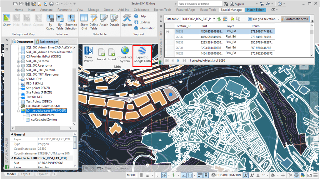 'Spatial Manager' Create KML function - Publishing drawings in Google Earth