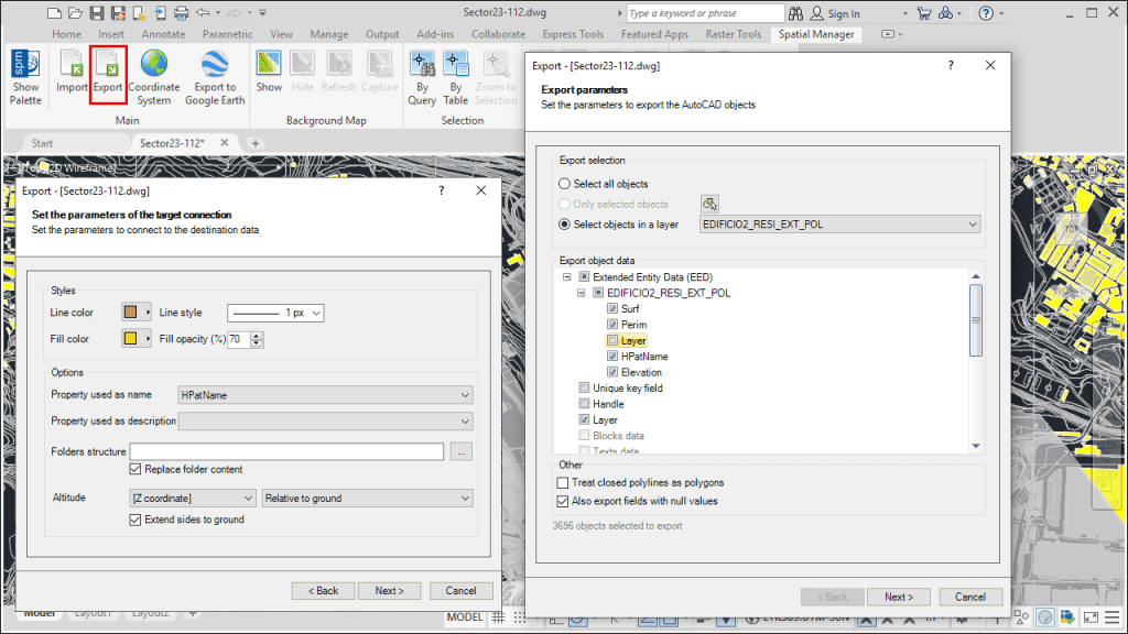 'Spatial Manager' Export (to KML/KMZ) function and parameters - Structured KML/KMZ files