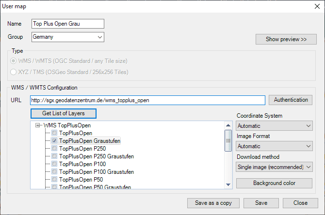 Top Plus Open Layers and parameters to configure