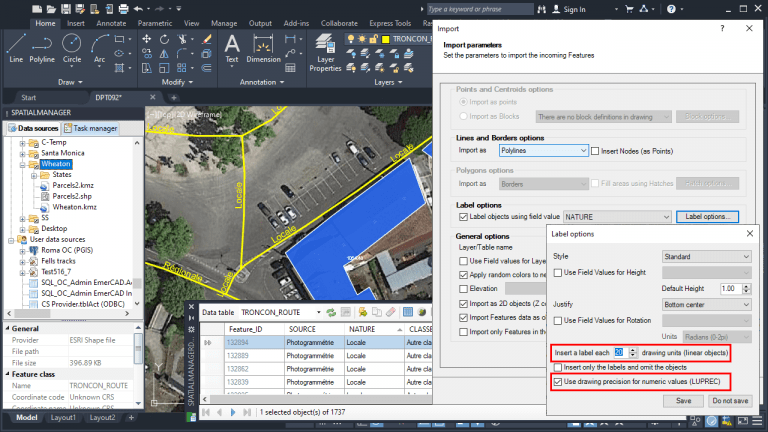Spatial Manager - Labeling objects while importing: New options