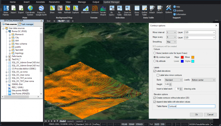 Creating Contours options (Spatial Manager Terrain Wizard)