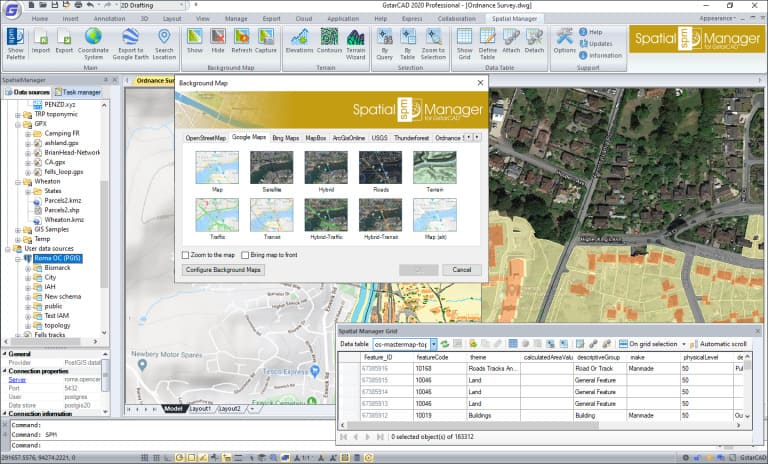 'Spatial Manager for GstarCAD' Background Maps